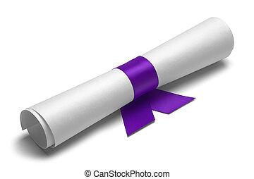 purpurowy, dyplom, wstążka