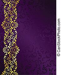 purpurowy, filigran, brzeg, tło, złoty