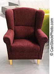 purpurowy, fotel