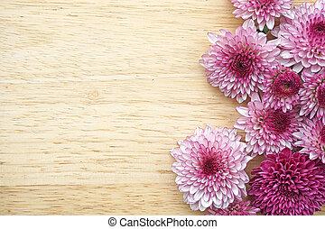purpurowy, (frame, stół, design), drewniany, kwiaty