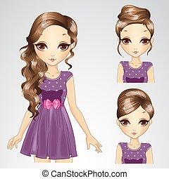 purpurowy, fryzura, komplet, strój, dziewczyna