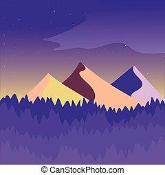 purpurowy, góra, żółty, krajobraz