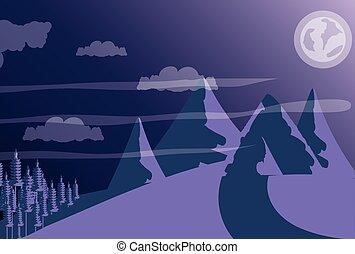 purpurowy, góra, niebo, krajobraz