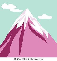 purpurowy, góra, peak., clouds., śnieżny