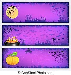 purpurowy, halloween, chorągwie, tła, komplet