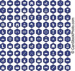 purpurowy, ikony, 100, jazda konna, sześciokąt
