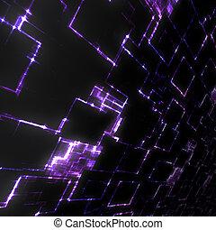 purpurowy, jarzący się, techno, tło