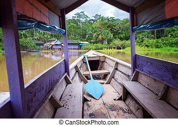 purpurowy, kajak, na, przedimek określony przed rzeczownikami, amazon rzeka