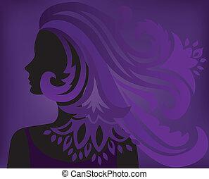 purpurowy, kobieta, sylwetka, tło