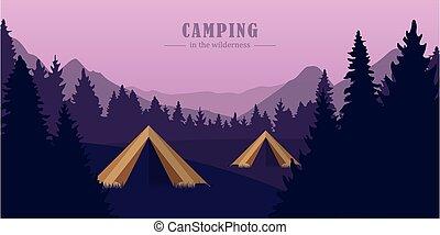 purpurowy, krajobraz, namioty, obozowanie, las, góra, przygoda, dwa, pustynia