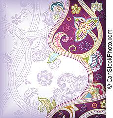 purpurowy, kwiatowy, abstrakcyjny