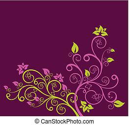 purpurowy, kwiatowy, wektor, zielony, ilustracja