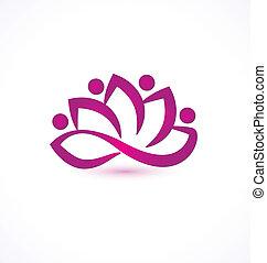 purpurowy, lotosowy kwiat, wektor, logo