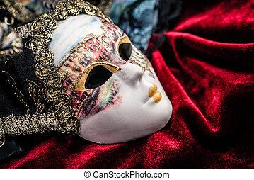 purpurowy, maska, aksamit, tło, karnawał