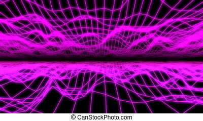 purpurowy, na, przelotny, retro, grid.