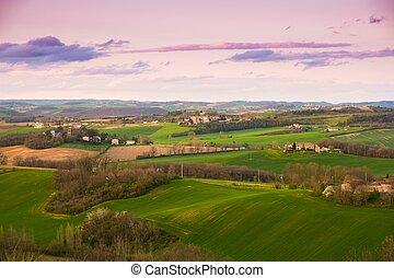 purpurowy, piękny, na, niebo, krajobraz