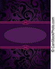 purpurowy, pionowy, karta