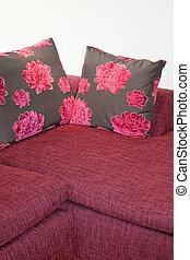 purpurowy, poduszki