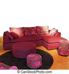 purpurowy, pokój, żyjący