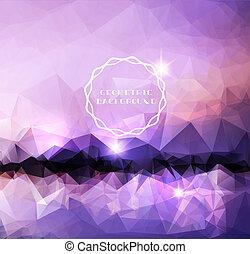 purpurowy, polygonal, krajobraz