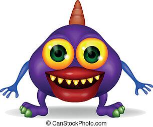 purpurowy, potwór, rysunek