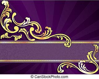 purpurowy, poziomy, chorągiew, złoty
