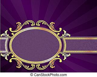 purpurowy, poziomy, złoty, etykieta
