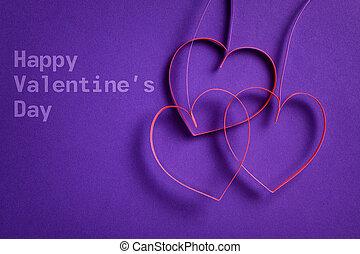 purpurowy, serca, Kwiecie, papier, tło