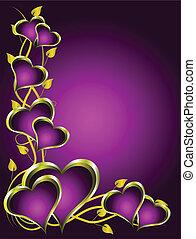 purpurowy, serca, list miłosny, tło, złoty