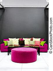 purpurowy, sofa