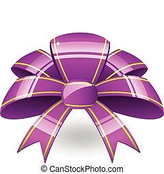 purpurowy, wstążka, łuk