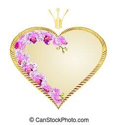 purpurrotes herz, krone, weißes, phalaenopsis, goldenes,...