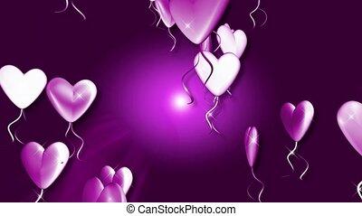 purpurrotes herz, luftballone