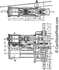 Purrey engine, vintage engraving.