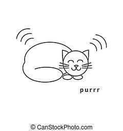 Purring cat line icon