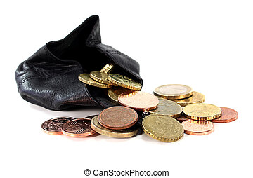 Purse - a black purse filled with euro coins