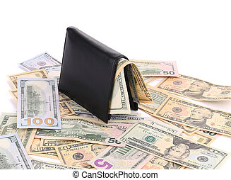 Purse and a bunch of dollars.