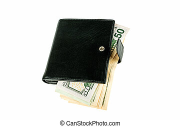 Purse and dollars on a white background