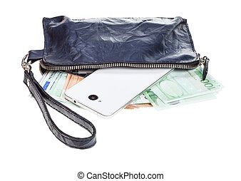 open small blue leather wristlet purse bag with phone, credit cards and euros isolated on white background