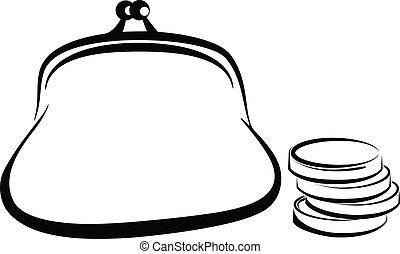 purse - Simple vector illustration of a purse. financial...