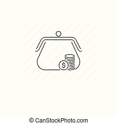Purse icon isolated. Single thin line symbol of purse and coins