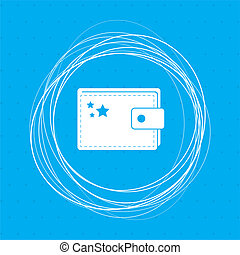 Purse icon on a blue background with abstract circles around and place for your text.