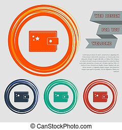 Purse icon on the red, blue, green, orange buttons for your website and design with space text. Vector