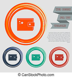 Purse icon on the red, blue, green, orange buttons for your website and design with space text.