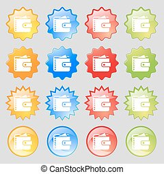 Purse  icon sign. Big set of 16 colorful modern buttons for your design. Vector