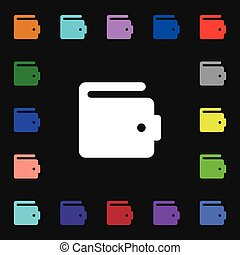 purse icon sign. Lots of colorful symbols for your design. Vector