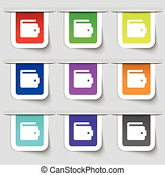purse icon sign. Set of multicolored modern labels for your design. Vector