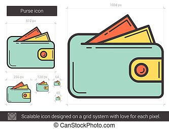 Purse line icon. - Purse vector line icon isolated on white...