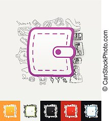 purse paper sticker with hand drawn elements