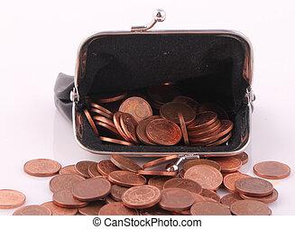 purse - A black purse with coins
